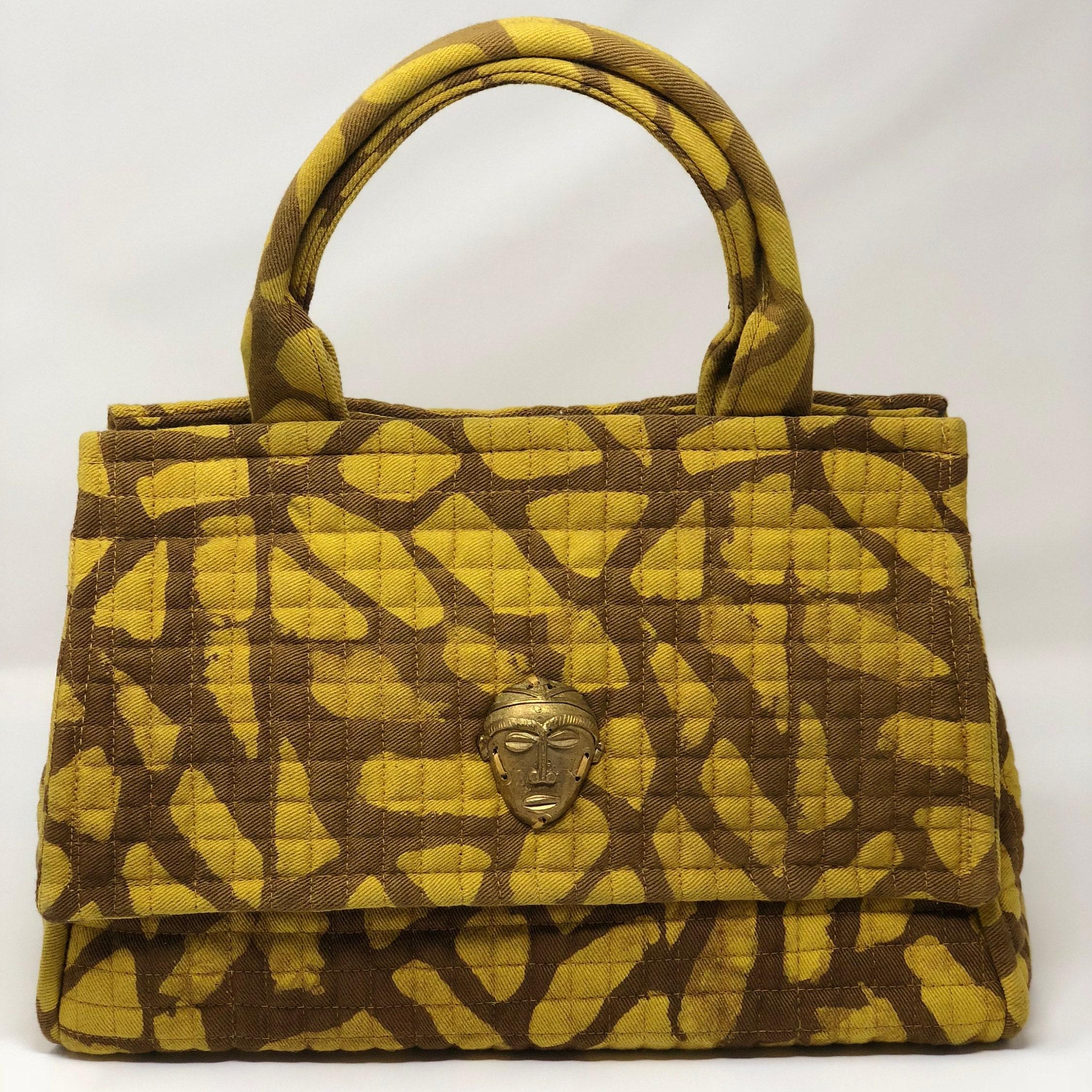 Medium African Batik Satchel Handbag Bag Brown