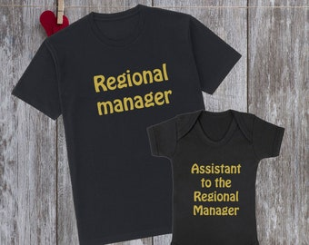 Regional Manager Assistant Dad and baby matching shirts Father and baby  matching shirt Family matching shirts Father and daughter gift 7aa08bf00bb