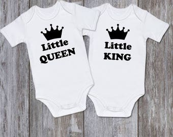 Twin baby onesies Twin onesies Twin Outfits Twin bodysuits Little Queen Little King Twin baby gift Sibling Matching Shirts Twin Newborn