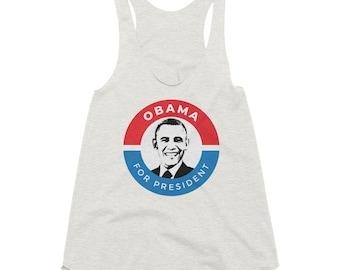 8170aad9c8d91 President Barack Obama Mug POTUS Political Campaign Gift Women s Tri-Blend Racerback  Tank