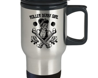 Roller derby girl mug | roller derby travel mug