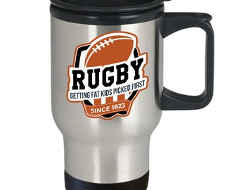 Rugby fat kids first mug | funny rugby travel mug