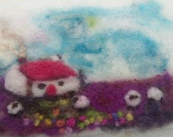 Uan Wool: Needle Felt Little House picture kit
