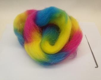 Uan Wool : Rainbow Wool, Texel medium micron, Angus Wools, Needle felt wool