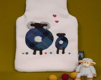 Uan Wool: Sensory  Hot Water Bottle  Cover 100%  Wool with Tartan  embellishments, British Wool, sheep, Highland cow