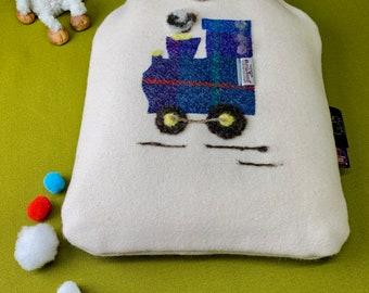 Uan Wool: 100% Wool Sensory Hot Water Bottle Cover with Harris Tweed Train Embellishment, British Wool