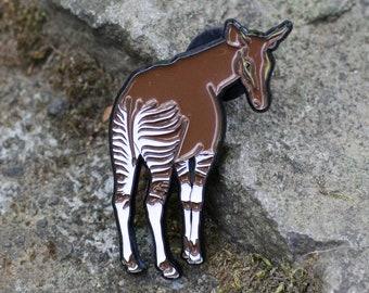 Okapi Pin, Okapi art, Stocking Stuffer, Okapi Enamel Pin, Animal Pin, Okapi Gift, Gift under 15, Okapi Art, Jungle Animal,