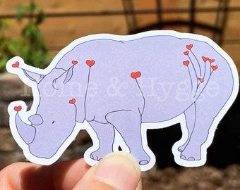 Rhino Sticker, Rhino Gift, Rhino Art,  Heart Art, Love Gift, Animal Sticker, Rhino Painting, Love sticker, Rhinoceros, Heart Sticker, Lovely