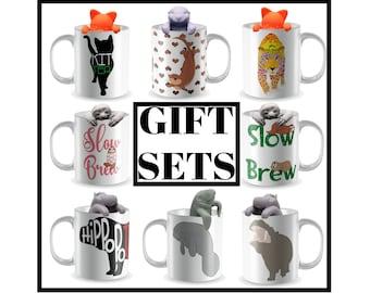 Mug set, Tea Lover Mug, Animal Mug, Mug with matching Tea Infuser, Mug and Coaster, Otter Mug, Hippo Mug, Sloth Mug, Manatee Mug, Tea mugs