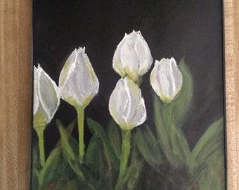 Acrylic Painting of White Tulips