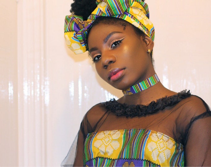 Kente print head wrap with choker