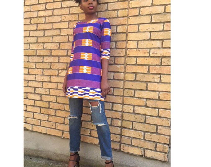 Kente print shirt dress