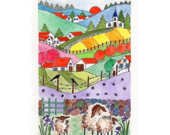 Home D\u00e9cor Hand Painted Folk Art Original Watercolor Landscape Painting Great Art Gift Whimsical Sheep #3 Unique Small Space Wall Art