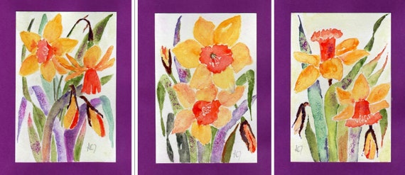 Hand Painted Birthday Cards Set Of 3 Watercolor Greeting