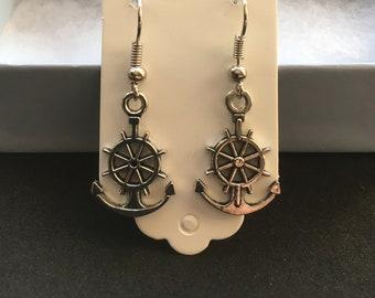 Anchor Earrings - Silver Earrings - Dangle Earrings -