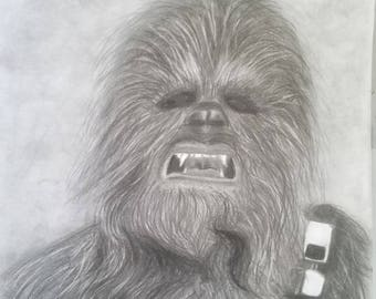 pencil drawing of Chewbacca from Star Wars 11x14 inch