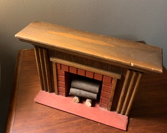 Dollhouse Miniature Fireplace Log Rack Holder with Logs Black Gold 1:12 Scale