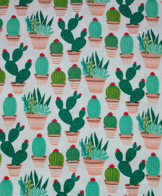 Stoff Meterware Baumwolle Kaktus Kakteen anthrazit grau Dekostoff Sukkulenten
