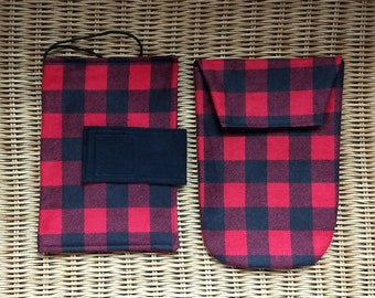 Diaper Wristlet OR Clutch Red and Black OR Pink and Black Buffalo Check Diaper Bag Small Diaper Bag Nappy Pouch Woodland Ready to Ship