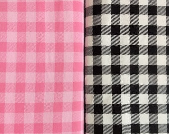 Receiving Blanket or Pack 'n Play Fitted Sheet Lt. Pink and Dark Pink or Black and White Buffalo Check Woodland Flannel / Ready to Ship