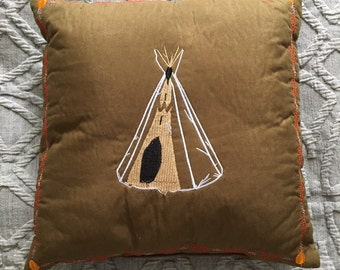 A Vintage Embroidered Teepee Pillow