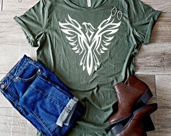 8998b24a0 Phoenix | Firebird | Reborn | Military Green Tshirt | Army Green | Vintage  Tshirt | Cute Womens Shirt | Off Shoulder