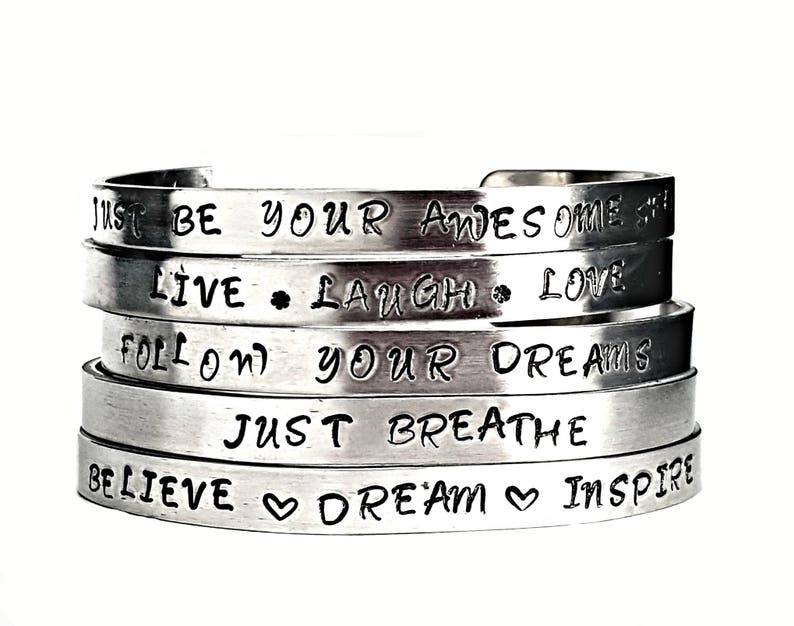 5 Positive Affirmation bracelet  Reiki Infused  Inspirational   Gift Ideas for Her  Gift For Her  cuff hand stamped  team incentives
