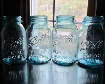 Antique 4 Vintage blue Ball Perfect Mason jars.