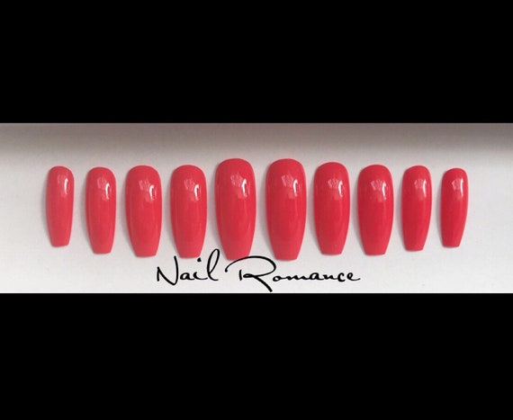 Coral Red Long Coffin Nails / Red Orange Nails / Press On Nails / Fake  Nails / Glue On Nails