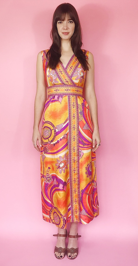1970s psychedelic maxi dress - image 3