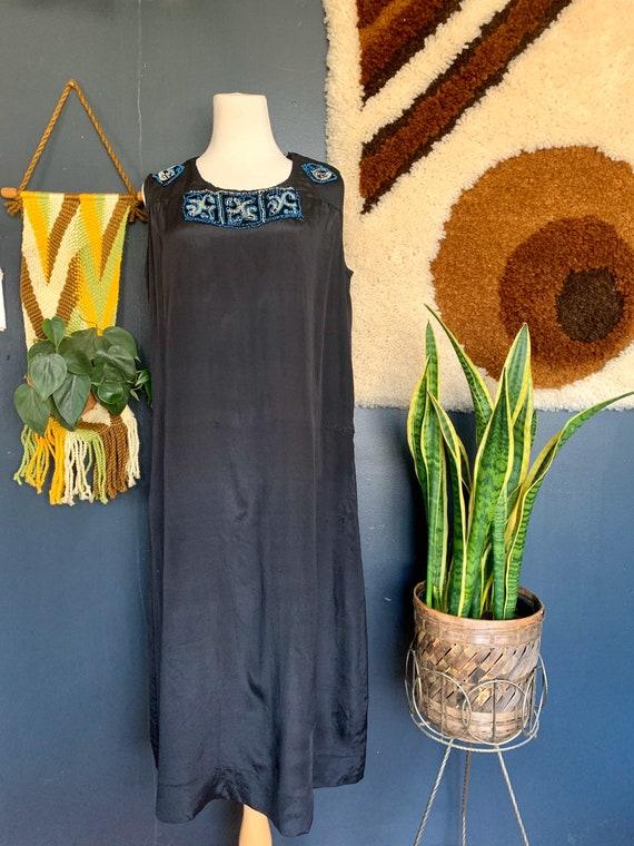 Vintage 1920s Silk Beaded Slip Dress