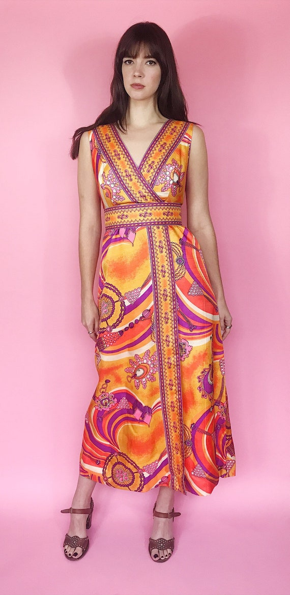 1970s psychedelic maxi dress - image 2