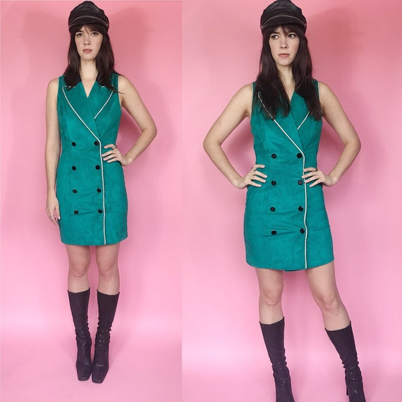 Vintage 1980s North Beach Leather suede dress