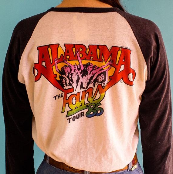 Vintage 1986 Alabama soft paper thin raglan tour t