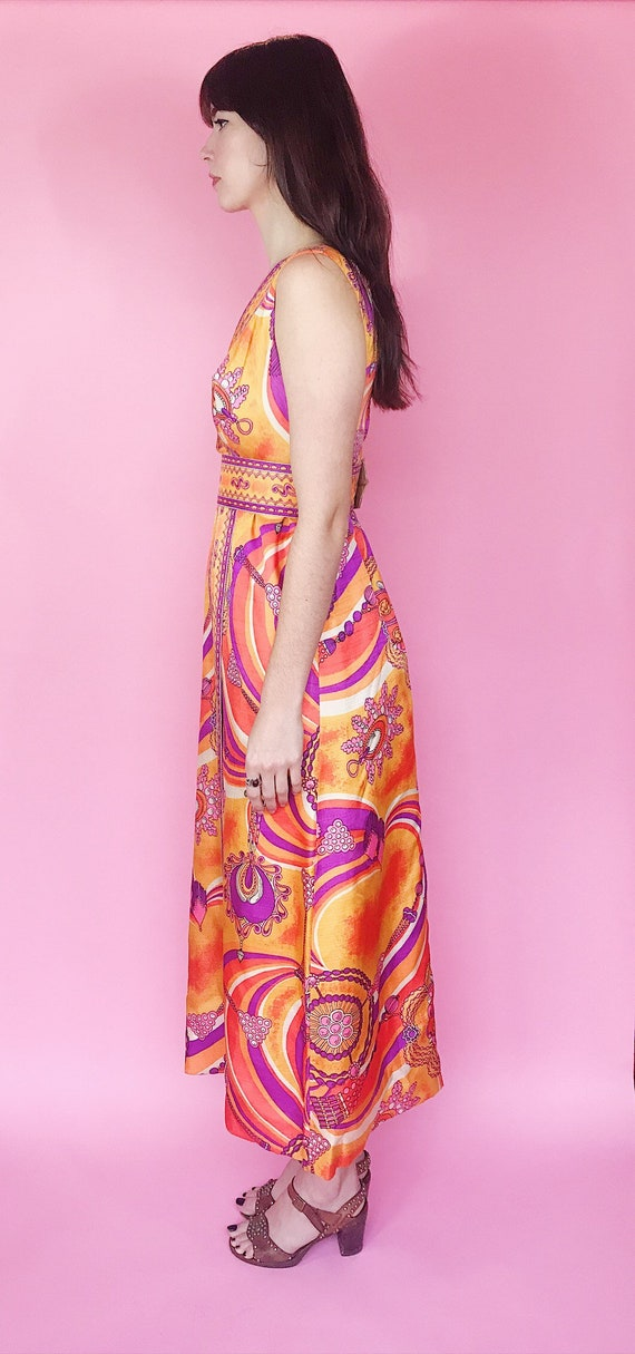 1970s psychedelic maxi dress - image 5