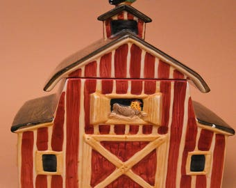Sakura Country Barn Cookie Jar- Hand Painted by Debbie Mumm