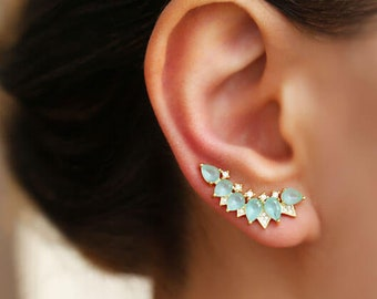 Turquoise earrings, ear climber, ear crawler, turquiose ear climber, ear cuff,  Ear crawler earrings, ear jacket, wedding earrings, gift mom
