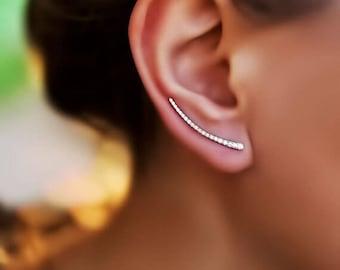Line earrings thin silver line earring gold ear crawlers minimalist jewelry Rose Gold line earrings Ear Climbers silver bar earrings ear pin