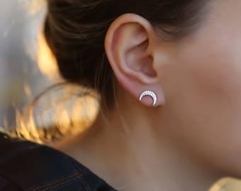Moon earrings, moon jewelry, crescent moon, silver earrings, stud earrings, star earrings, ear cuff minimalist earrings, tiny stud earrings