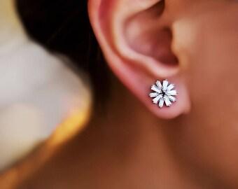 Pansy Stud earrings antique jewelry flower earrings gemstone earrings Diamond Pansy Traditional Earstud gift for wife Wedding earrings