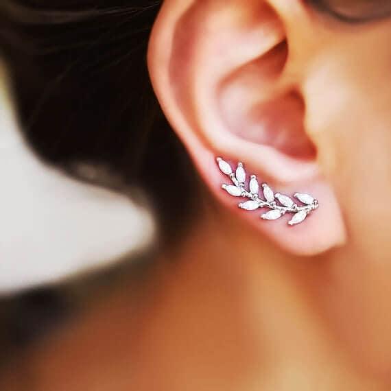 Silver Olive Vine Ear Climber Etsy