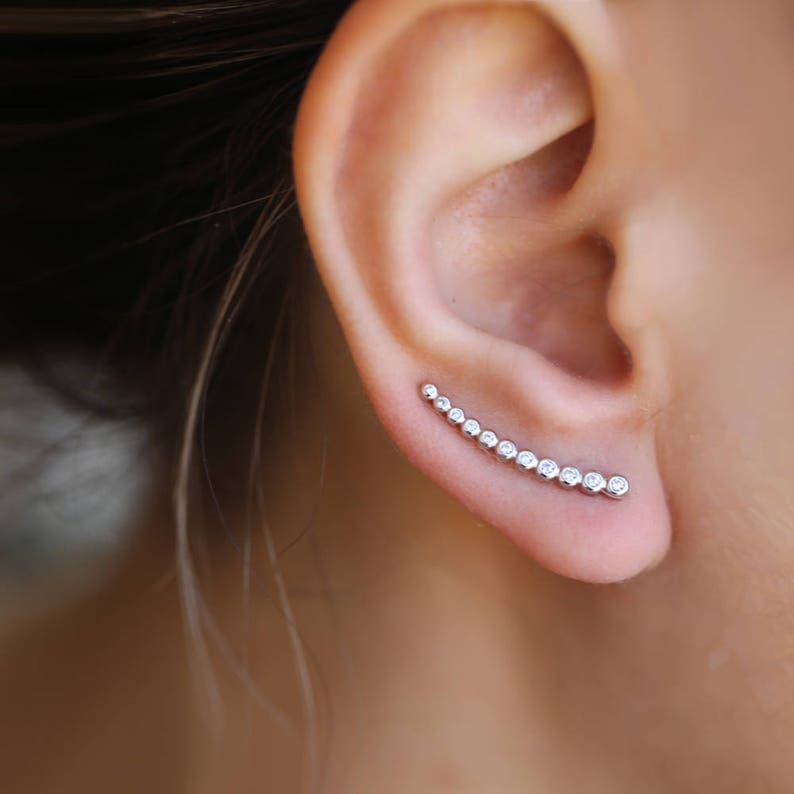 Top Zilveren oor klimmers gebogen lijn oorbellen oor crawler | Etsy &EK37