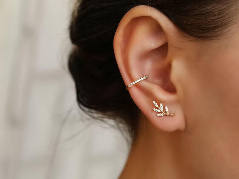 e79a8bd1b Tiny stud earrings dainty earrings tiny Silver Studs Leaf | Etsy