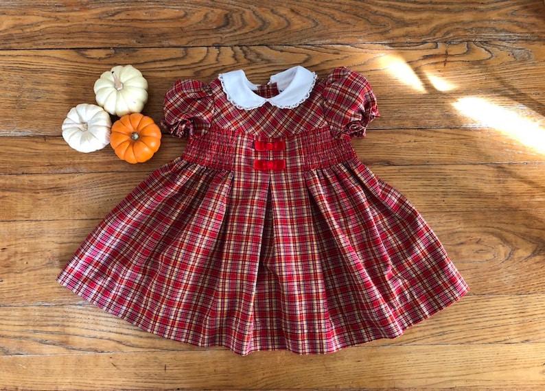 e54cbaabd Vintage BT Kids Smocked Red Plaid Baby Dress Size 24 Months