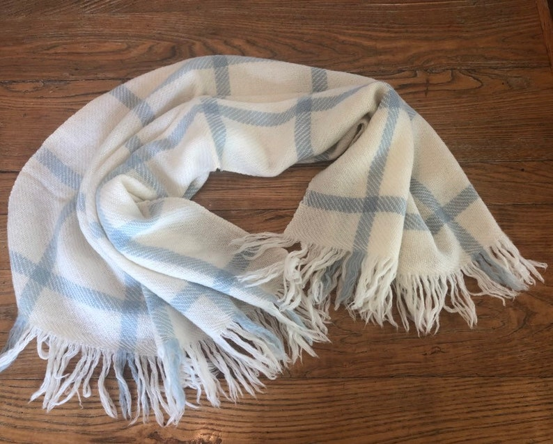 Kyloom All Virgin Wool Circa 1950s Vintage Ivory and Light Blue 100/% Wool Baby Blanket 1960s Baby Blanket Blue and Cream Plaid Baby Gift