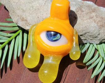 Lemon Slyme Glass Drippy Eye Pendant