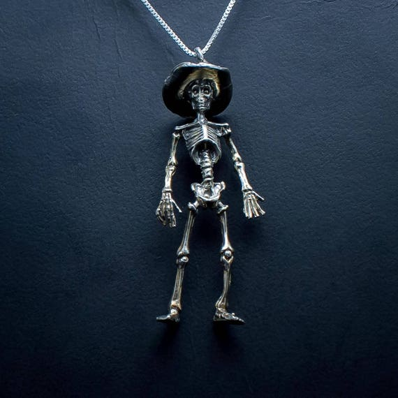 Sterling Silver skeleton with top hat El Samedi Calaca and cigar as usually seen in Mardi Gras parades and Day of Dead processions.