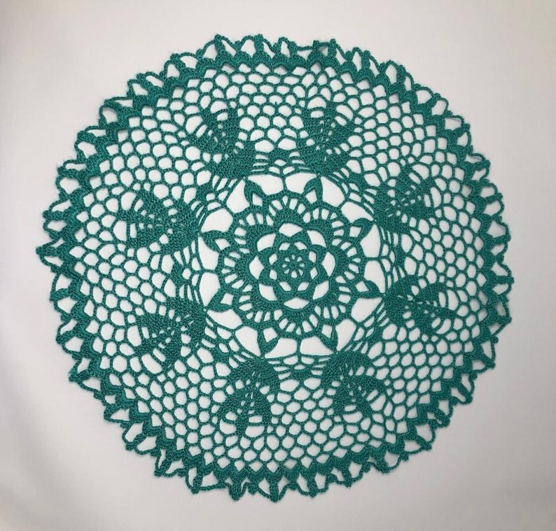 Seafoam Green Lotus Flower Crochet Doily Lace Doilies Green Etsy