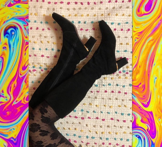 Vintage 60s black suede go go knee high boots Sand