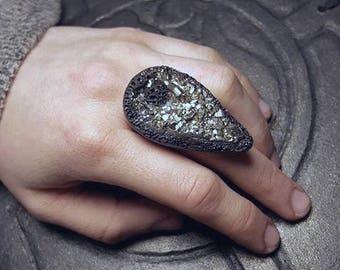 Pyrite Druzy Crystal Adjustable Ring